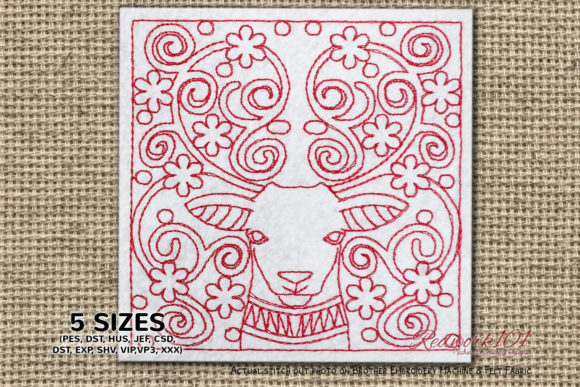 Deer Face with Abstract Design Redwork Wild Animals Embroidery Design By Redwork101