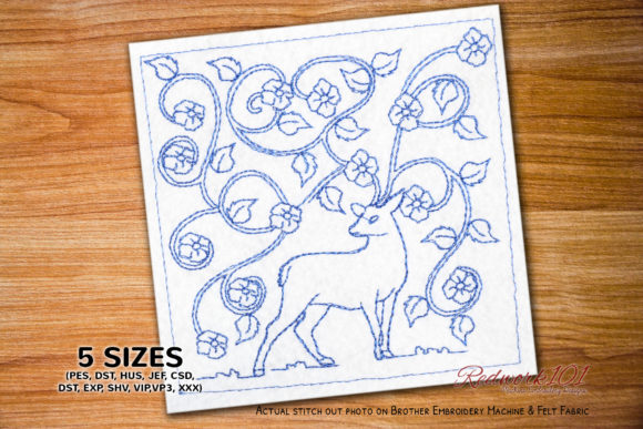 Deer with Abstract Floral Background Paisley Embroidery Design By Redwork101