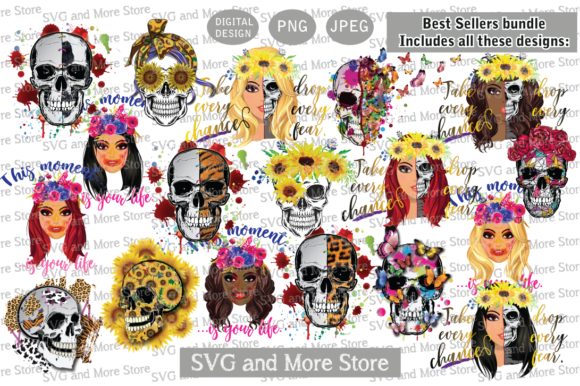 Halloween Catrina Digital Bundle  Graphic Illustrations By svgandmorestore