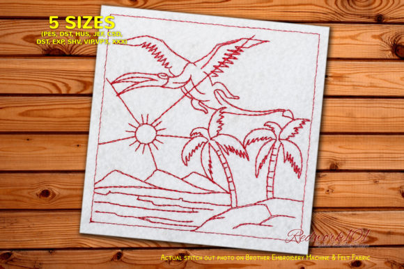 Dinosaur Flying over the Lake Redwork Dinosaurs Embroidery Design By Redwork101