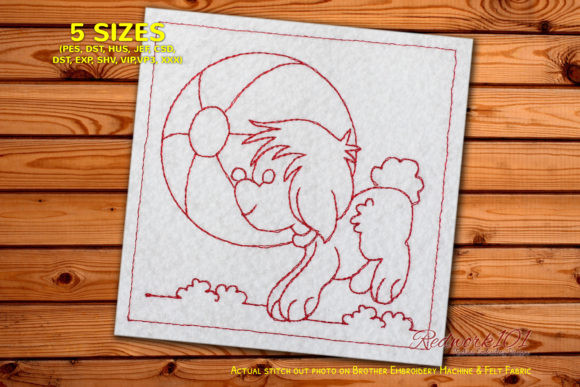 Dog Chasing a Ball Redwork Dogs Embroidery Design By Redwork101