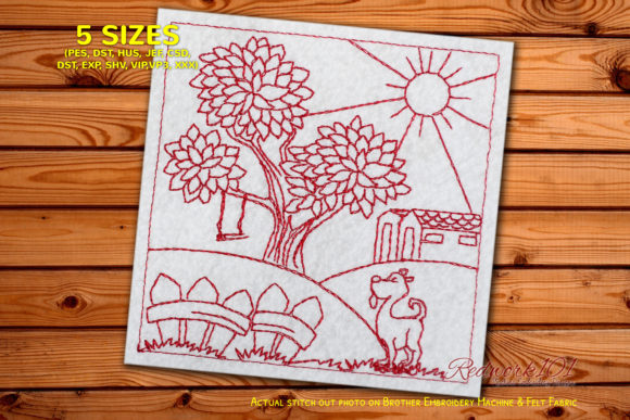 Dog Standing in Front of House Redwork Dogs Embroidery Design By Redwork101