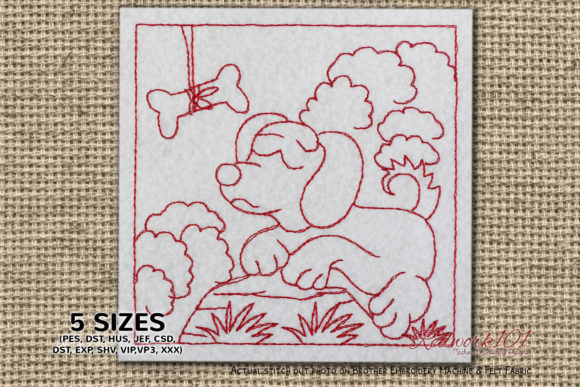 Dog with Bone in a Beautiful Nature Dogs Embroidery Design By Redwork101