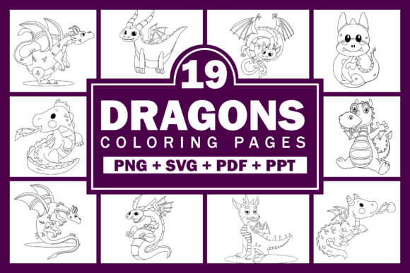 Dragons Coloring Pages for Kids KDP Graphic