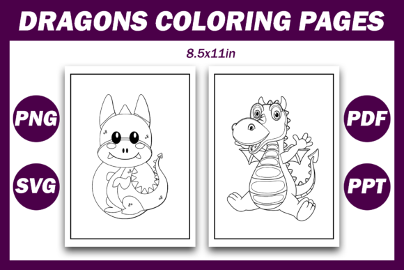 Dragons Coloring Pages for Kids KDP Graphic Download