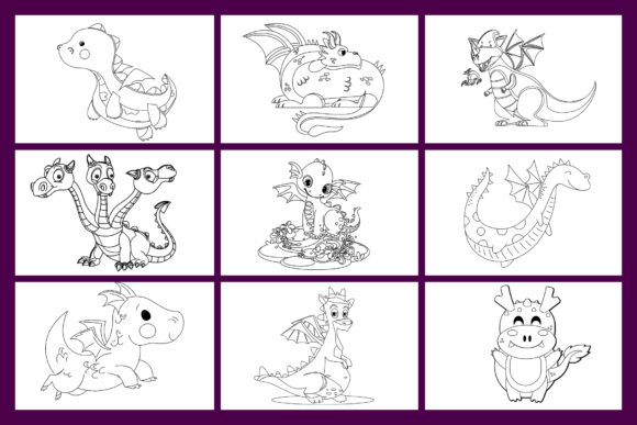Dragons Coloring Pages for Kids KDP Graphic Item