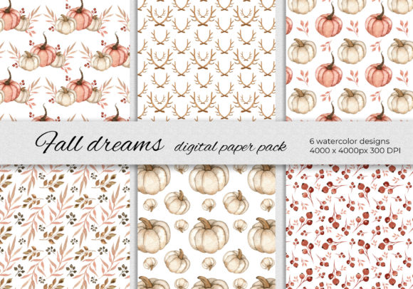 Fall Dreams Digital Papers - 6 Patterns Graphic Patterns By RedDotsHouse