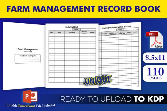 Print on Demand: Farm Management Record Book KDP Interior Graphic KDP Interiors By Beast Designer