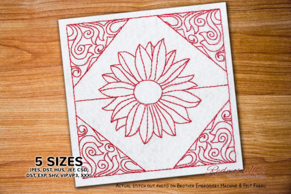 Floral Abstract Design Redwork Paisley Embroidery Design By Redwork101