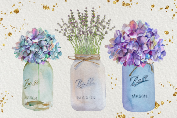 Floral Mason Jars - Watercolor Set Graphic Illustrations By tatibordiu