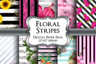 Print on Demand: Floral Stripes Digital Paper Pack Graphic Backgrounds By Party Pixelz