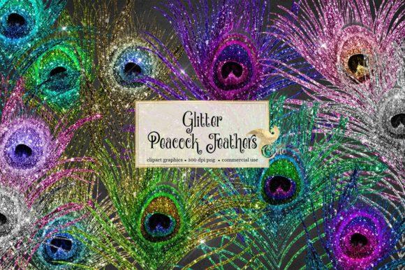 Print on Demand: Glitter Peacock Feathers Clipart Grafik Illustrationen von Digital Curio