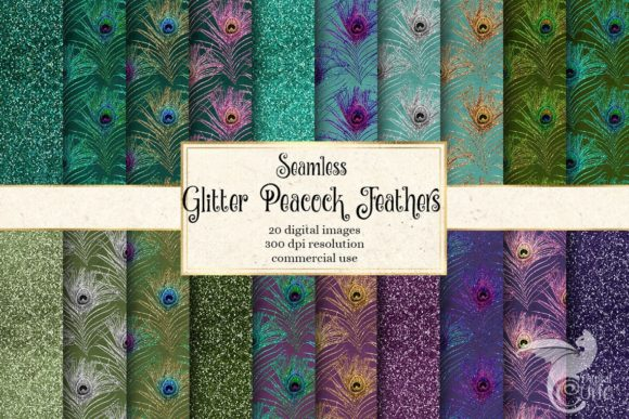 Print on Demand: Glitter Peacock Feathers Digital Paper Graphic Backgrounds By Digital Curio - Image 1