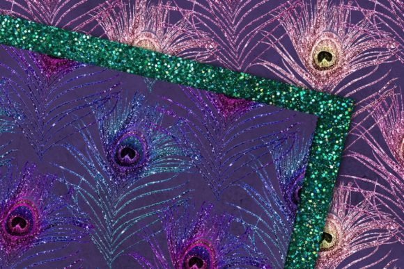 Print on Demand: Glitter Peacock Feathers Digital Paper Graphic Backgrounds By Digital Curio - Image 2