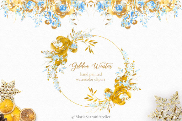 Print on Demand: Golden Winter Watercolor Clipart Graphic Illustrations By MariaScaroniAtelier