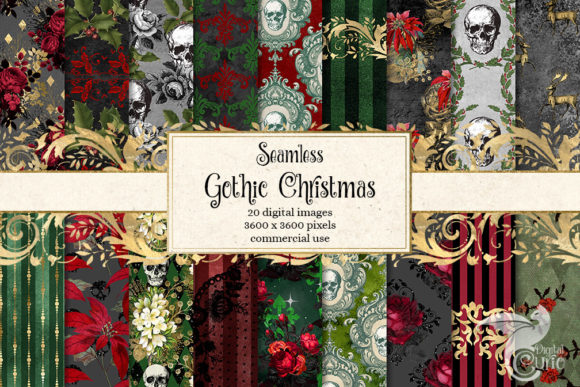 Print on Demand: Gothic Christmas Digital Paper Graphic Backgrounds By Digital Curio