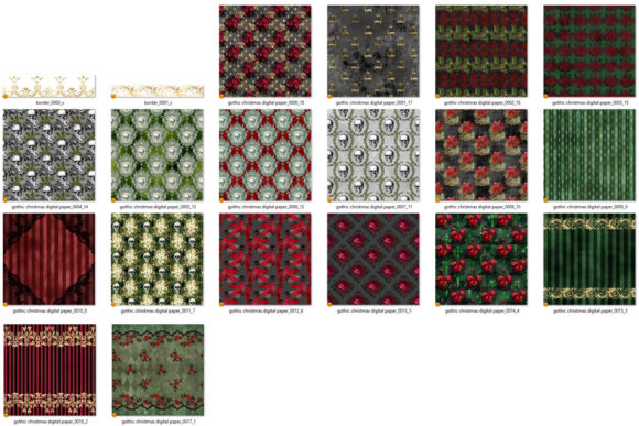 Print on Demand: Gothic Christmas Digital Paper Graphic Backgrounds By Digital Curio - Image 4