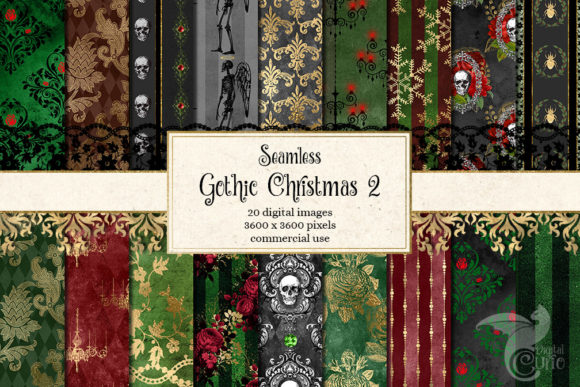 Print on Demand: Gothic Christmas Digital Paper Set 2 Graphic Backgrounds By Digital Curio - Image 1
