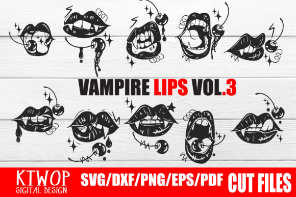 Print on Demand: Halloween Vampire Berry Lip Bundle Grafik Plotterdateien von KtwoP