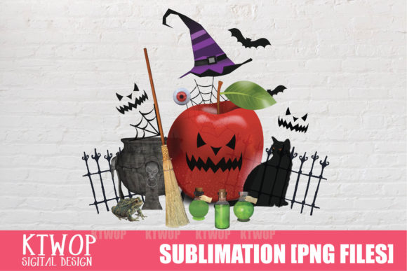 Print on Demand: Halloween-Red-Apple Teacher Sublimation Graphic Crafts By KtwoP