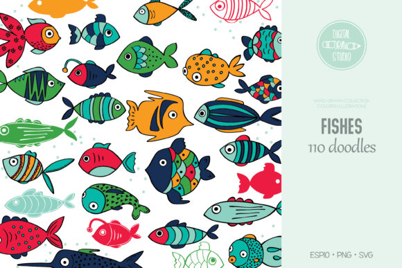 Hand Drawn Fish Color | Cute Tropical Graphic Illustrations By Digital_Draw_Studio