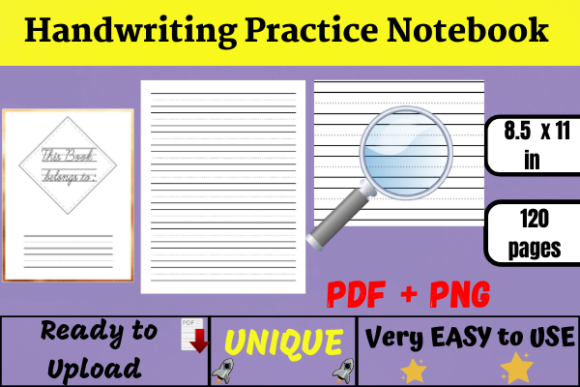Handwriting Practice Paper (KDP) Graphic KDP Interiors By Wiss_Tips designs