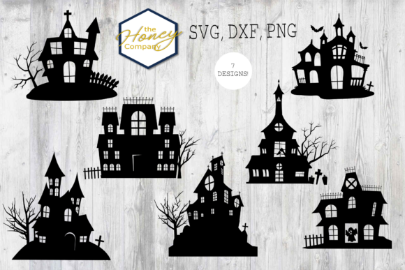 Haunted House Outline Bundles SVG PNG DX Graphic Crafts By The Honey Company