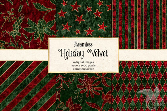 Print on Demand: Holiday Velvet Digital Paper Graphic Backgrounds By Digital Curio