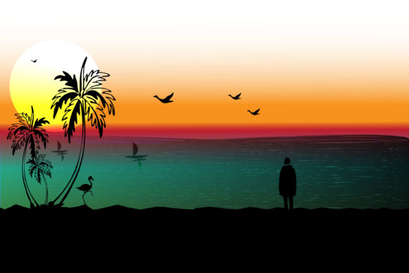 Print on Demand: Landscape of the Beach in Sunset Graphic Illustrations By ayska17