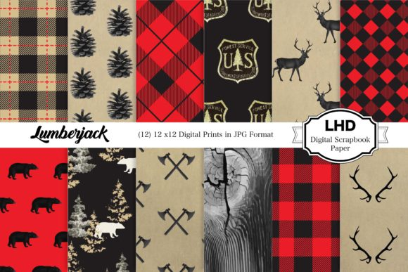 Lumberjack Digital Paper Pack Graphic Patterns By LeskaHamatyDesign