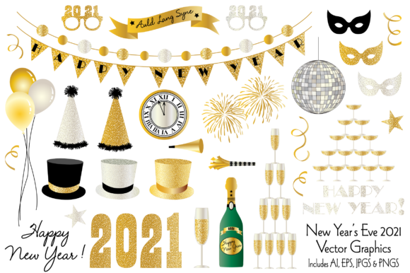 New Year's Eve 2021 Clipart Graphics Graphic Illustrations By Melissa Held Designs