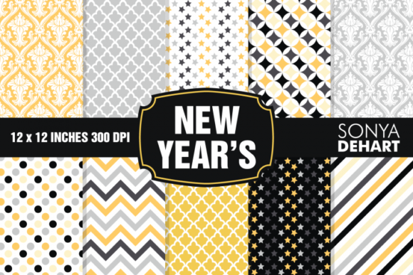 Print on Demand: New Year's Eve Digital Paper Set Graphic Patterns By sonyadehart