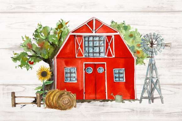 On the Farm Clip Art Set Vol.1 Graphic Illustrations By tatibordiu