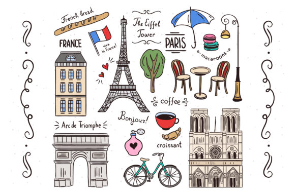 Paris Illustrations Clipart Set Graphic Illustrations By redchocolate