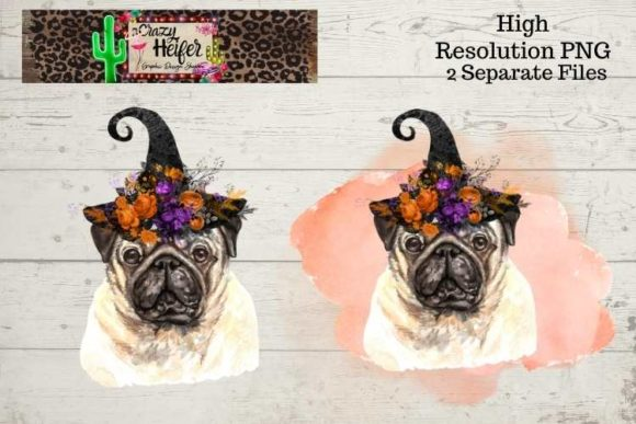 Print on Demand: Pug Halloween Witch PNG Graphic Illustrations By Crazy Heifer Design Shoppe