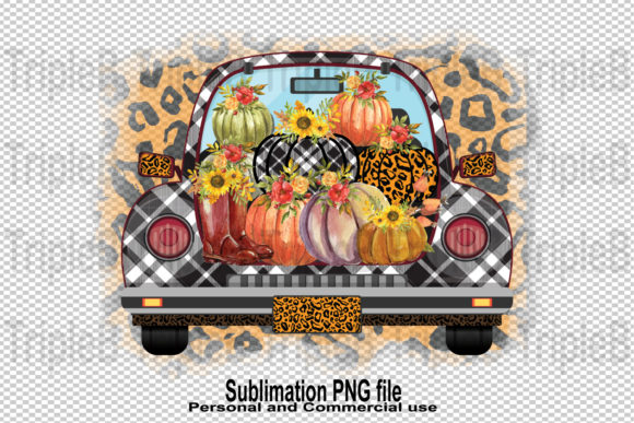 Print on Demand: Pumpkins Fall Leopard Car Sublimation Graphic Illustrations By TripleBcraft