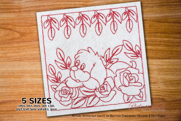 Puppy Sleeps in Flowers Bluework Dogs Embroidery Design By Redwork101