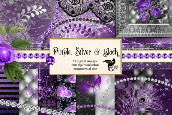 Print on Demand: Purple Silver and Black Graphics Graphic Illustrations By Digital Curio