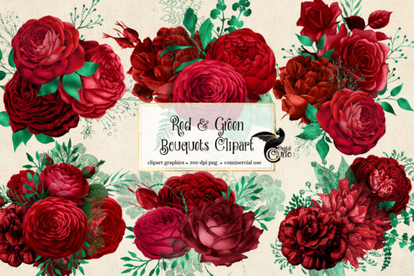 Print on Demand: Red and Green Floral Bouquets Clipart Graphic Illustrations By Digital Curio