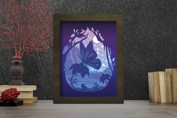 Simplified Butterfly Light Box ShadowBox Graphic