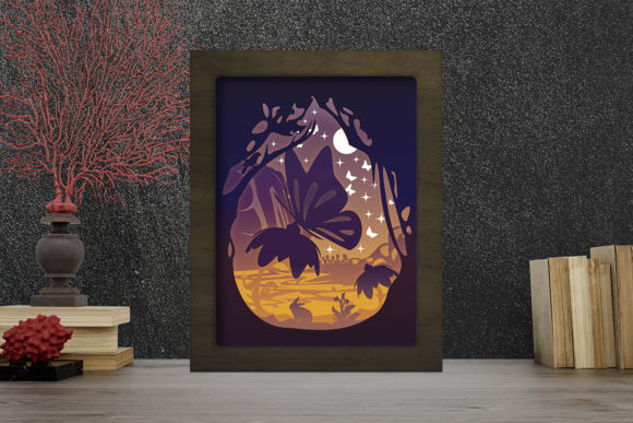 Simplified Butterfly Light Box ShadowBox Graphic Download