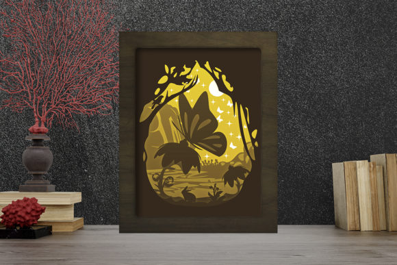 Simplified Butterfly Light Box ShadowBox Graphic Item