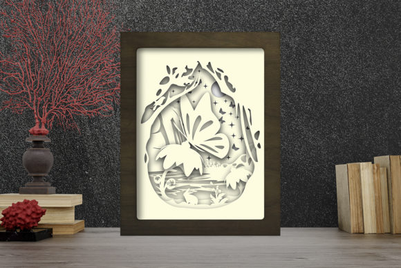Simplified Butterfly Light Box ShadowBox Graphic Design