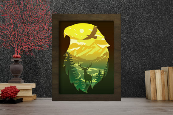 Simplified Forest Light Box Shadow Box Graphic 3D Shadow Box By LightBoxGoodMan