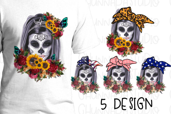 Print on Demand: Skull Halloween Flowers Sublimation Graphic Print Templates By CSDesign