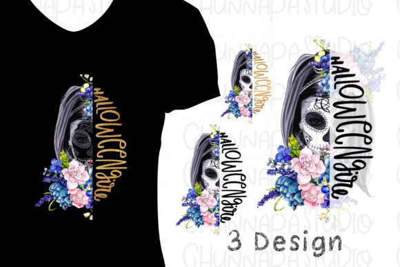 Print on Demand: Skull Halloween Flowers Sublimation PNG. Graphic Print Templates By CSDesign