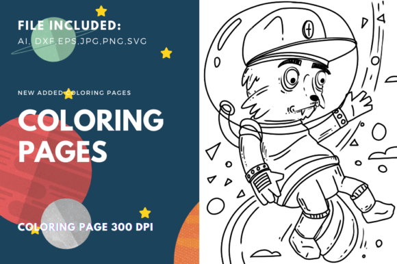 Print on Demand: Space Fox 02 Coloring Page Graphic Coloring Pages & Books Kids By stanosh