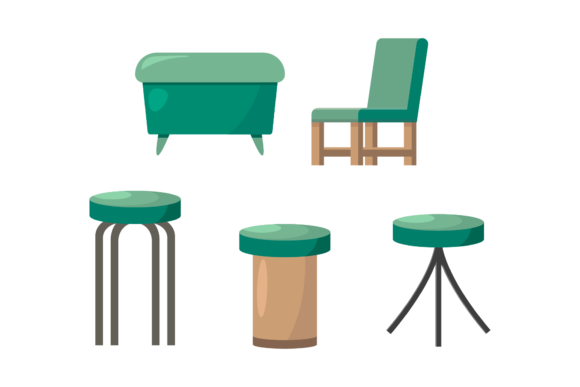 Terrace Green Chair Illustrations Set Graphic Illustrations By 1tokosepatu