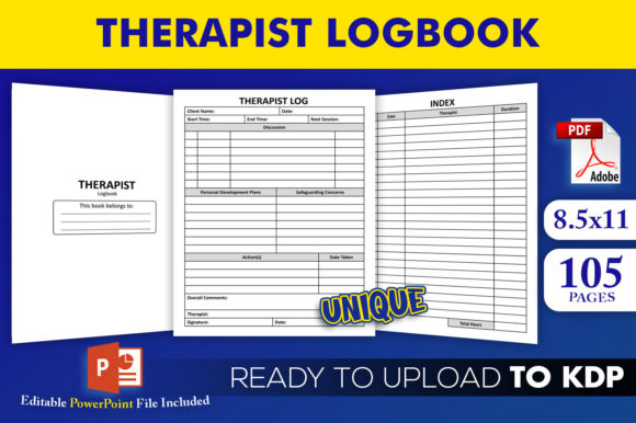Print on Demand: Therapist Logbook KDP Interior Template Graphic KDP Interiors By Beast Designer
