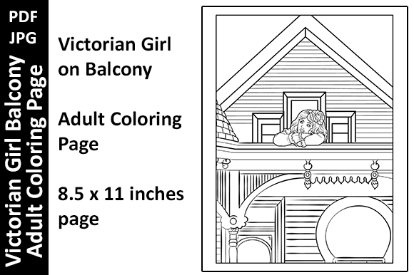 Victorian Girl Balcony Adult Colo Page Graphic Coloring Pages & Books Adults By Oxyp